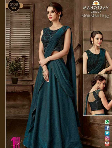 Indo Western MOH5108 Party Wear Turquoise Silk Lycra Saree Gown by Fashion Nation