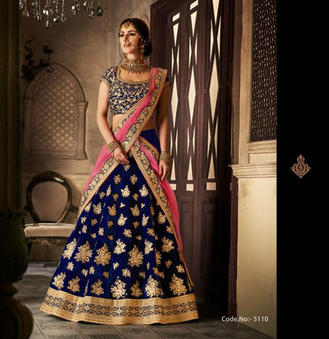 Wedding Special NAK5110 Bridal Navy Blue Pink Velvet Net Lehenga Choli by Fashion Nation