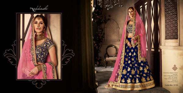 Wedding Special NAK5110 Bridal Navy Blue Pink Velvet Net Lehenga Choli