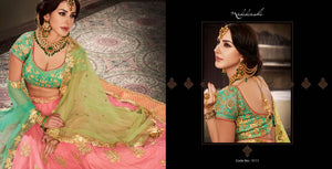 Festive NAK5111 Bridal Rama Green Peach Net Silk Lehenga Choli - Fashion Nation