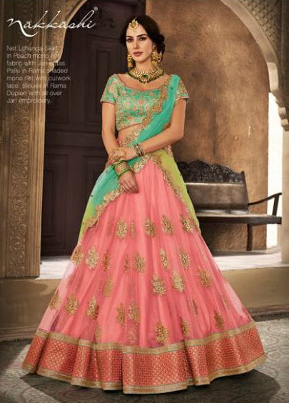 Festive NAK5111 Bridal Rama Green Peach Net Silk Lehenga Choli by Fashion Nation