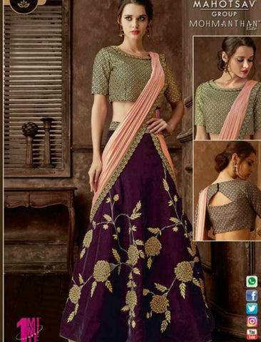 Indo Western MOH5111 Party Wear Purple Beige Silk Lycra Saree Gown by Fashion Nation