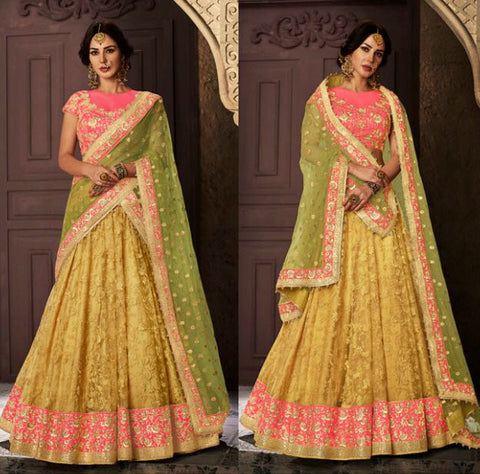 Great NAK5112 Bridal Liril Green Pink Yellow Net Silk Lehenga Choli by Fashion Nation