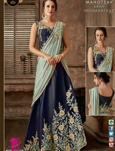 Indo Western MOH5112 Party Wear Blue Grey Silk Lycra Saree Gown by Fashion Nation