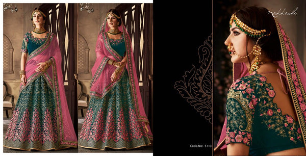 Awesome NAK5113 Bridal Dark Rama Green Pink Net Velvet Lehenga Choli - Fashion Nation