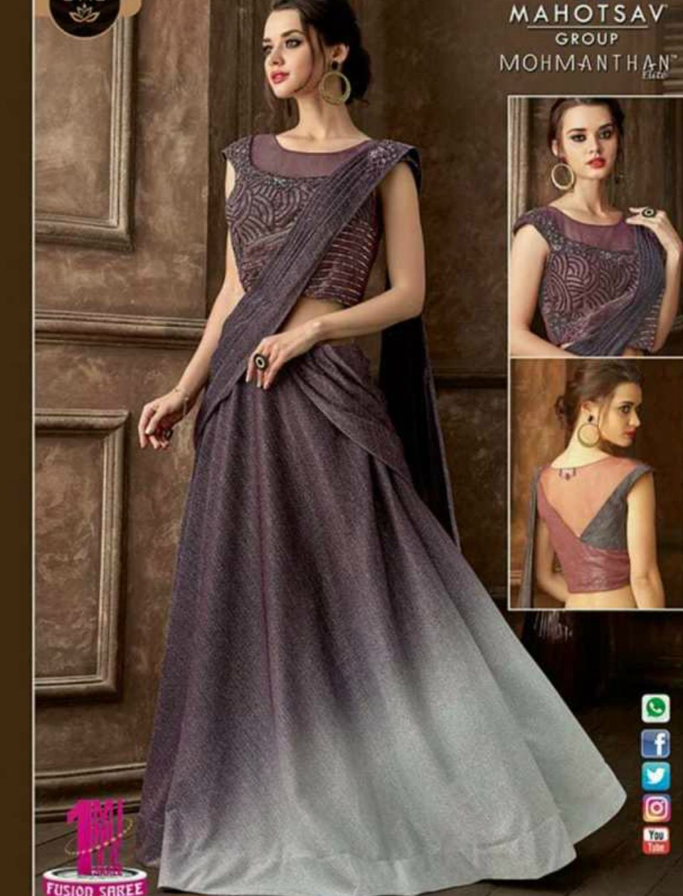 Indo Western MOH5113 Party Wear Shaded Mauve Grey Silk Lycra Saree Gown - Fashion Nation
