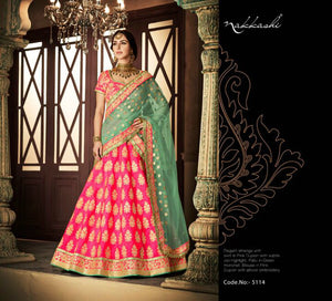 Unique NAK5114 Bridal Aqua Pink Net Silk Lehenga Choli by Fashion Nation
