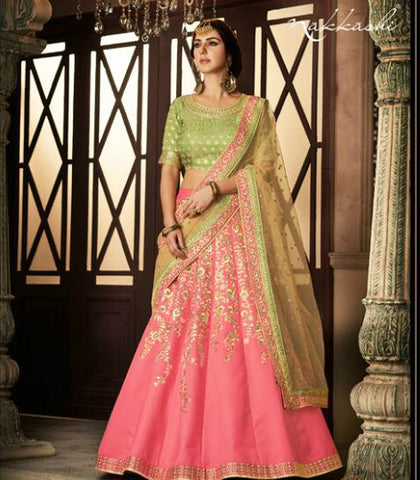 Famous NAK5115 Bridal Green Pink Net Silk Lehenga Choli by Fashion Nation