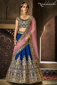 Evergreen NAK5117 Bridal Navy Blue Pink Handloom Silk Net Lehenga Choli by Fashion Nation