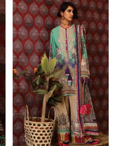 Fabulous Indo Western SANA5117 Multicoloured Lawn Cotton Pakistani Suit - Fashion Nation