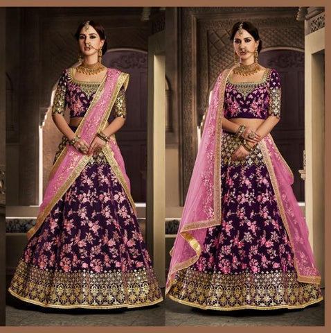 Amazing NAK5118 Bridal Pink Magenta Velvet Net Lehenga Choli by Fashion Nation