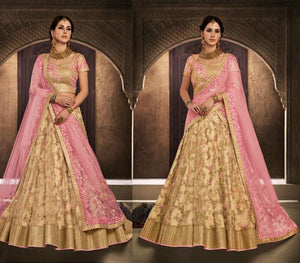 Dainty NAK5119 Bridal Pink Beige Net Silk Lehenga Choli by Fashion Nation