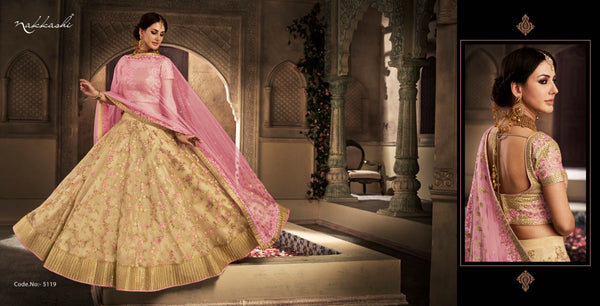 Dainty NAK5119 Bridal Pink Beige Net Silk Lehenga Choli - Fashion Nation