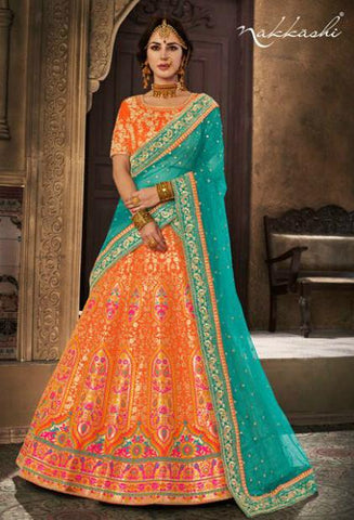 Colourful NAK5120 Bridal Orange Brocade Rama Green Net Silk Lehenga Choli - Fashion Nation
