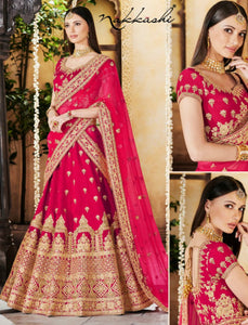 Radiant Nakkashi NAK5122 Wedding Special Red Linen Silk Net Lehenga Choli by Fashion Nation