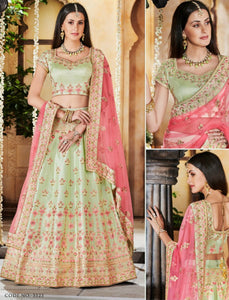 Delicate Nakkashi NAK5123 Bridal Pista Green Satin Silk Pink Net Lehenga Choli by Fashion Nation