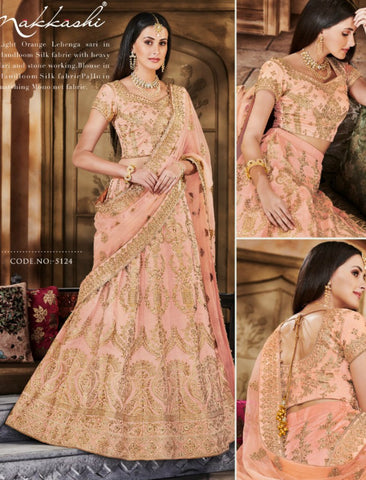 Wedding Special Nakkashi NAK5124 Bridal Light Orange Handloom Silk Net Lehenga Choli by Fashion Nation