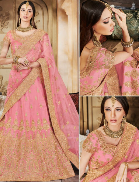 Designer Nakkashi NAK5125 Bridal Peach Handloom Silk Net Lehenga Choli by Fashion Nation