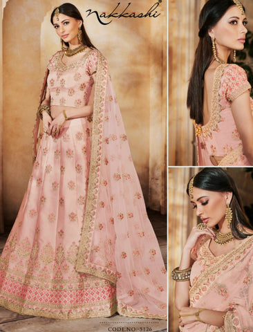 Fabulous Nakkashi NAK5126 Bridal Light Peach Satin Silk Net Lehenga Choli by Fashion Nation