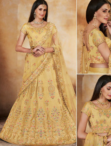 Vibrant Nakkashi NAK5127 Wedding Special Yellow Handloom Silk Net Lehenga Choli by Fashion Nation