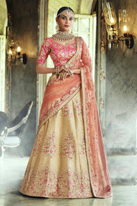 Ravishing Nakkashi NAK5131 Bridal Yellow Pink Peach Handloom Silk Net Lehenga Choli by Fashion Nation