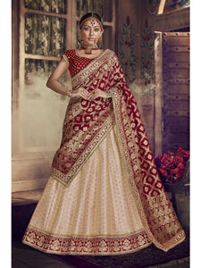 Marriage Special Nakkashi NAK5140 Bridal Maroon Jacquard Velvet Peach Silk Lehenga Choli by Fashion Nation