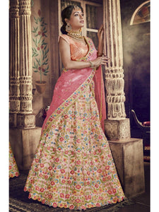 Wedding Wear Nakkashi NAK5141 Bridal Multicoloured Pink Peach Net Silk Lehenga Choli - Fashion Nation