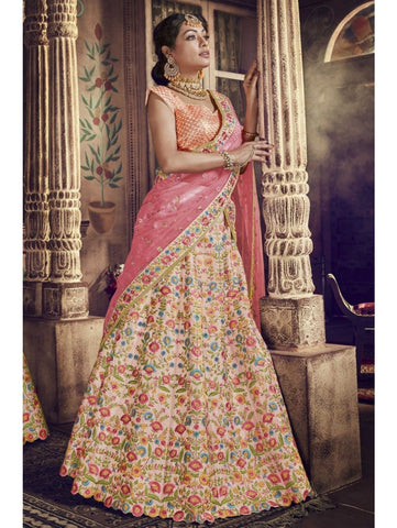 Wedding Wear Nakkashi NAK5141 Bridal Multicoloured Pink Peach Net Silk Lehenga Choli by Fashion Nation