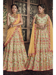 Special Nakkashi NAK5144 Bridal Multicoloured Pista Green Silk Yellow Net Lehenga Choli by Fashion Nation