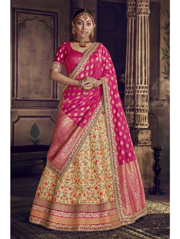 Traditional Nakkashi NAK5146 Bridal Multicoloured Yellow Silk Rani Jacquard Lehenga Choli by Fashion Nation