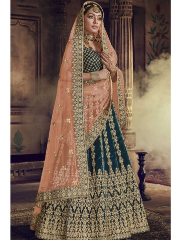 Embroidered Nakkashi NAK5147 Bridal Morpeach Velvet Orange Net Lehenga Choli by Fashion Nation