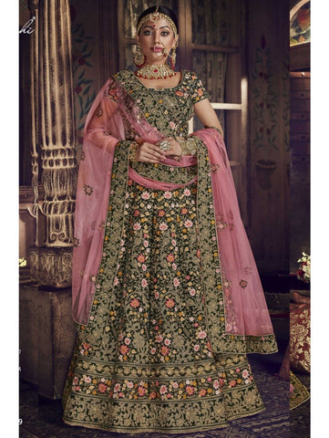 Majestic Nakkashi NAK5149 Bridal Green Velvet Pink Net Lehenga Choli by Fashion Nation