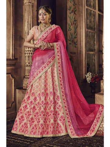 Festive Nakkashi NAK5150 Bridal Multicoloured Pink Peach Net Silk Lehenga Choli by Fashion Nation