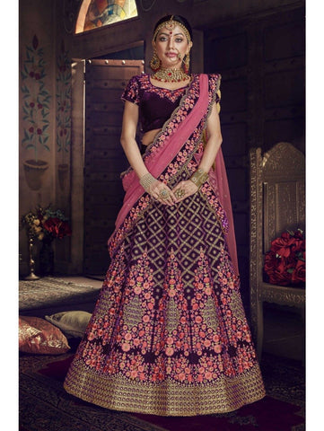 Original Nakkashi NAK5151 Bridal Burgundy Velvet Pink Net Lehenga Choli by Fashion Nation
