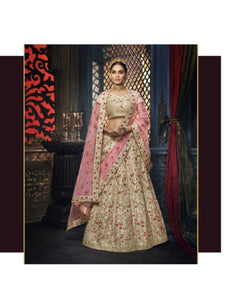 Traditional Nakkashi NAK5156 Bridal Pink Net Beige Handloom Silk Lehenga Choli - Fashion Nation