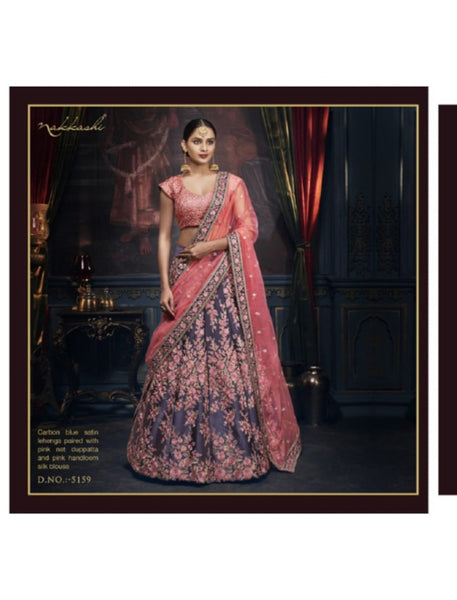 Designer Nakkashi NAK5159 Bridal Pink Net Carbon Blue Satin Silk Lehenga Choli - Fashion Nation
