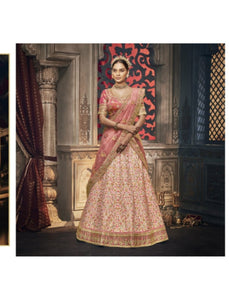 Fabulous Nakkashi NAK5162 Bridal Peach Jacquard Handloom Silk Net Lehenga Choli - Fashion Nation