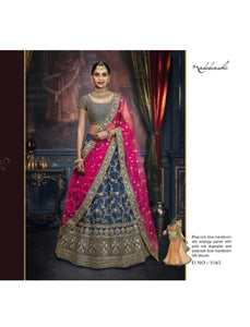Ethnic Nakkashi NAK5163 Bridal Pink Net Peacock Blue Handloom Silk Lehenga Choli - Fashion Nation