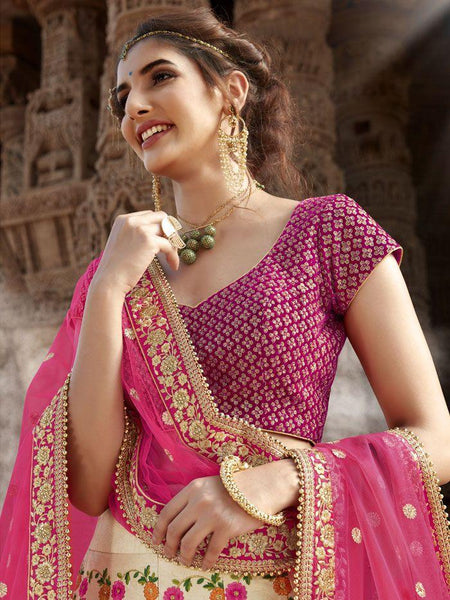 Handcrafted Nakkashi NAK5165 Bridal Beige Multicoloured Handloom Silk Lehenga Choli - Fashion Nation
