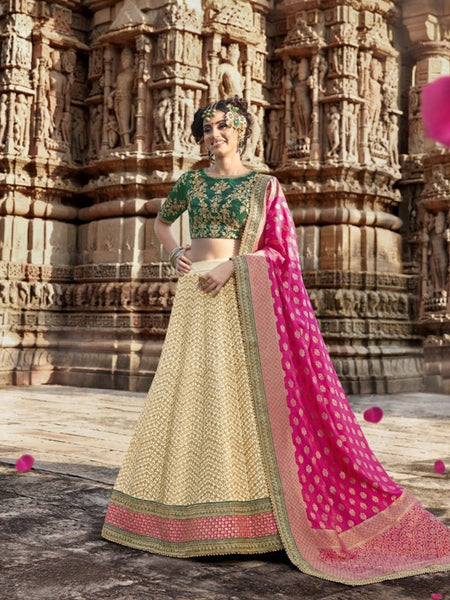 Indian Wear Nakkashi NAK5168 Bridal Beige Multicoloured Handloom Silk Lehenga Choli - Fashion Nation