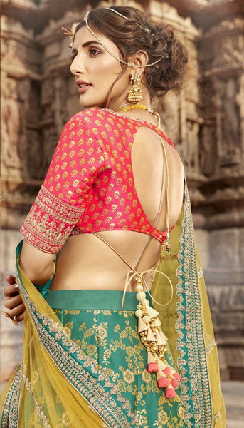 Handpicked Nakkashi NAK5169 Bridal Blue Rani Jacquard Lehenga Choli - Fashion Nation