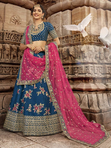 Fabulous Nakkashi NAK5171 Bridal Blue Handloom Silk Lehenga Choli - Fashion Nation