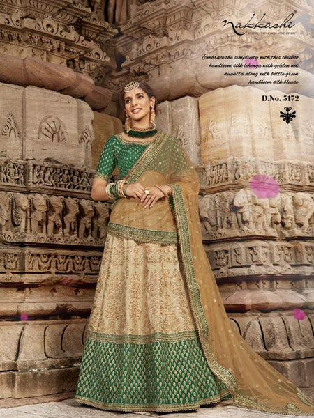 Embroidered Nakkashi NAK5172 Bridal Beige Handloom Silk Lehenga Choli - Fashion Nation