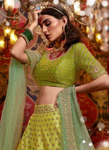 Special Occasion Wear Nakkashi Liril Green Satin Silk Lehenga Choli