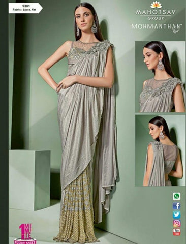 Designer MOH5301 Party Wear Grey Golden Lycra Net Silk Indo Western Saree by Fashion Nation