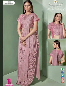 Stylish MOH5304 Cocktail Wear Lavender Lycra Net Silk Indo Western Saree by Fashion Nation