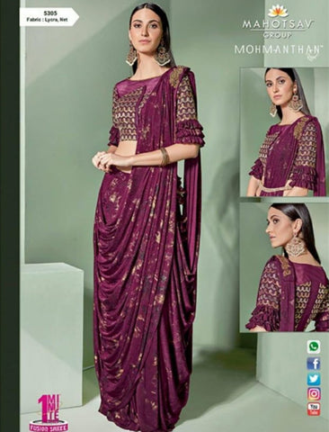 Amazing MOH5305 Cocktail Wear Purple Lycra Net Silk Indo Western Saree by Fashion Nation