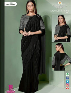 Evening Wear MOH5308 Cocktail Black Grey Lycra Net Silk Indo Western Saree by Fashion Nation
