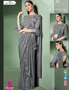 Trendy MOH5309 Cocktail Wear Grey Lycra Net Silk Indo Western Saree by Fashion Nation