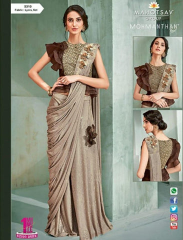 Gorgeous MOH5310 Cocktail Wear Beige Brown Lycra Net Silk Indo Western Saree